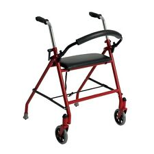 Drive Medical Two Wheeled Walker with Seat, Red 1239RD Walker NEW