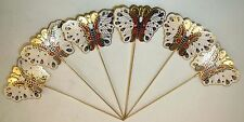 """6 Vintage Bookmark 5"""" Cloisonne Butterfly Gold Enamel Brass Chinese Lot"""
