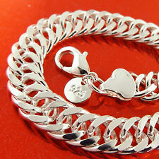 A407 GENUINE REAL 925 STERLING SILVER S/F SOLID MENS DOUBLE CURB BRACELET BANGLE