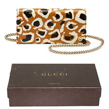 NEW $1099 GUCCI LEATHER Yellow Leather LEOPARD Print Chain WOC Spring Mini BAG