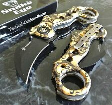 ZOMBIE KILLER Knife Z-Hunter Yellow Skull Camo Assisted Hawkbill Karambit NEW!!!