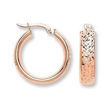 9 Quilates Oro Rosa neumático pisada Diseño D forma 20mm Aro Pendientes 2.0g caracteriza
