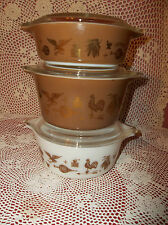 VTG.PYREX EARLY AMERICAN CINDERELLA NESTING BOWLS SET OF 3 W/LIDS