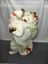 Lenox China Cookie Jar 1999 Holiday Santa Bag Of Toys NICE