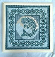 Vintage Handmade Embroidery Cross Stitch Complete and Framed Fish with Designs