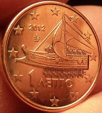 Gem Unc Greece 2012 1 Euro Cent~Ancient Athenian Trireme~Minted In Athens~Fr/Shi
