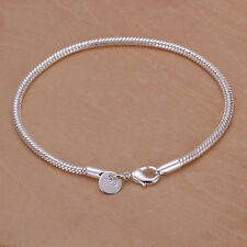 New Women Charm Silver Plated 3MM Snake Chain Bracelet Bangle Fashion Jewelry US
