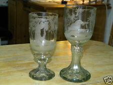 JUGENDSTIL 2x FUSSBECHER KELCHGLAS POKALGLAS ca.1900 geschliffenes Glas Lobmeyr