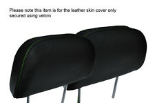 GREEN STITCH 2X FRONT HEADREST LEATHER SKIN COVERS FITS HONDA PRELUDE 1986-1991