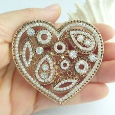 Vintage Clear Austrian Crystal Love Heart Bridal Brooch Pin Party Gift EE05101C1
