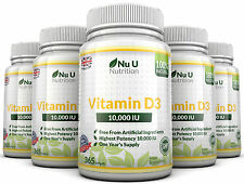 Vitamin D3 10000iu 5 Bottles x 365 Soft Gel Capsules High Strength