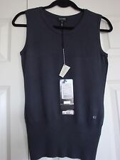 BNWT Auth Charcoal Escada Swarovski Sleeveless Shirt Top Sweater sz X Small Saks
