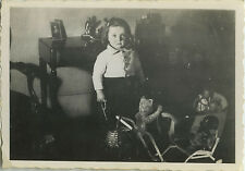 PHOTO ANCIENNE - VINTAGE SNAPSHOT - ENFANT JOUET OURS PELUCHE - CHILD OLD TOY