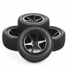 4Pcs 1/10th Scale RC Off-Road Buggy Car Front & Rear Tires and Wheel