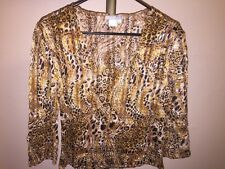 BEAUTIFUL SEQUINED ALBERTO MAKALI LEOPARD PRINT 3/4 SLEEVE TOP SZ LARGE