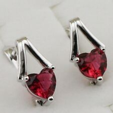 Classy Hot Ruby Red Heart Gems Jewelry Gold Filled Huggie Lady Earrings H1563