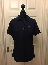 Lacoste Devanlay ladies navy blue 3 button polo shirt top UK 14/46