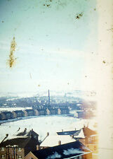 Vintage Agfacolors Slide Negative, Snowy Hills and Town View, Mill, Houses, Snow