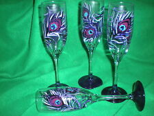 HAND PAINTED PURPLE PEACOCK FEATHER  CHAMPAGNE FLUTES . SET OF 4