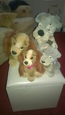 4 x Disney Lady & Tramp +Babies,Rare Collectable soft kids Toys.Plush Christmas