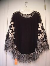 NEW! Black White SOUTHWESTERN Tribal print INDIAN Knit SWEATER CAPE Poncho/OS