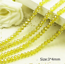 DIY Jewelry Faceted 100pcs # 5040 3x4mm Rondelle glass Crystal Beads yellow AB