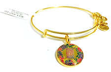 Alex and Ani Charity By Design Peace Love Music Bangle in Shiny Gold