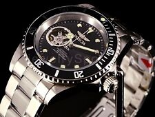 Invicta Mens Pro Diver Open Heart Automatic NH38A Black Bezel SS Bracelet Watch