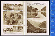 PICTURE ATLAS: Great Sights of INDIA - Banas River, Elephants  -1925 Prints