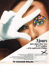 PUBLICITE ADVERTISING  1968   PHILIPS  téléviseur couleur