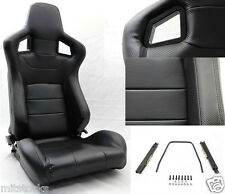 NEW 2 BLACK PVC LEATHER CARBON LOOK TRIM RACING SEAT RECLINABLE + SLIDERS DODGE