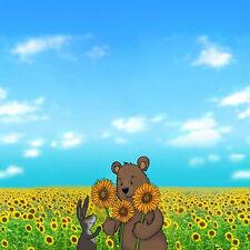Sonnenblumen Süßer Jerseystoff Paneel Bär Hase 54 cm x 160 cm