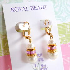 White Pearl Pink Crystal Gold Plate Bridesmaid Leverback Drop Earrings