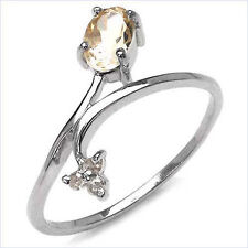 925 Sterling Silver Ring Decorated With Genuine Citrine & Diamond