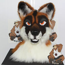 Fox Semi Realistic Partial Fursuit Mascot Head Tail & Handpaws Paws Furry Anthro