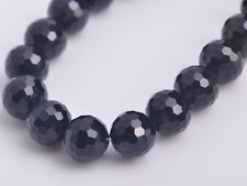 20pcs12mm 96 Faceted Round Crystal Glass Charms Loose Spacer Beads Black