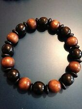 Mens Boys Wood Bracelet, Black & Brown Bracelet, Wooden Beads