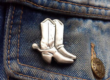 Cowboy Boots Pewter Pin Badge