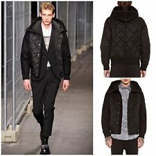 Rare & Great Neil Barrett AW12 Nylon Wool Quilted Hooded Shearling Bomber Jacket