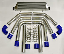 "Universal High Quality Polished Intercooler 2.5"" 8pc Piping Kit Aluminum Blue"