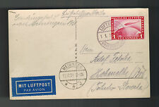 1931 Meiningen Germany Graf Zeppelin Real Picture Postcard Cover to Bohemia