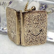 Antique Victorian Gold Gilt Sterling Silver Engraved Anchor Book Locket Necklace
