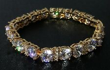 14k Yellow Gold GP Tennis Bracelet made w/ Swarovski Clear Crystal Stone Bridal
