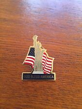 Vintage US Flag and Statue of Liberty God Bless America Patriotic Lapel Pin