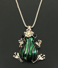 Rose Gold Plated Green Enamel Crystal Crown Frog Pendant Sweater Chain Necklace