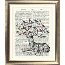 ART PRINT ON ORIGINAL ANTIQUE BOOK PAGE 'Deer & Birds' Stag Antlers Vintage