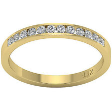Anniversary Wedding Ring VS1 G 0.40Ct Round Diamond 14K Yellow Gold Channel Set