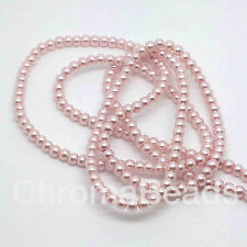 3mm Glass Faux Pearls strand - Blush Pink (230+ beads) jewellery making, craft