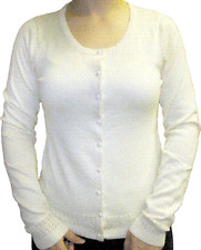 77657 Ivory White Button Up Cardigan Sweater Sourpuss Pinup 50s Classic Small S