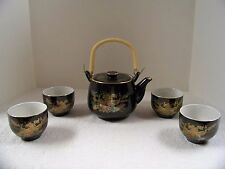 Japanese Sake Tea Set Black and Gold With Peacock and Flowers Tea Pot & 4 Cups